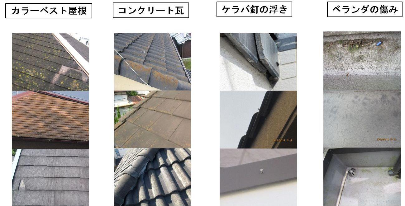 カラーベスト屋根、コンクリート瓦、ケラバ釘の浮き、ベランダの痛み