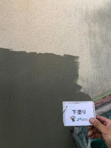 奈良北葛城郡河合町Y様 外壁塗装・その他の工事 外壁塗装下塗り1回目