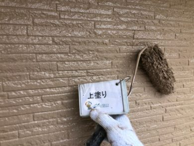 奈良奈良市U様邸 外壁塗装・屋根塗装・ベランダ防水工事 外壁塗装上塗り