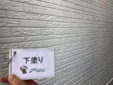 奈良北葛城郡上牧町H様 外壁塗装・屋根塗装・ベランダ防水工事 外壁塗装下塗り