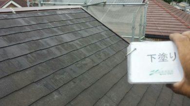 奈良香芝市K様 外壁塗装・屋根塗装・ベランダ防水工事 屋根塗装下塗り1回目