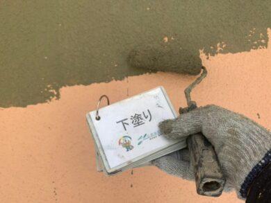 奈良北葛城郡王寺町S様邸 外壁塗装・防水工事 外壁下塗り