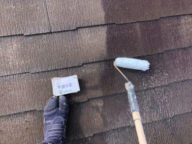 奈良奈良市U様邸 外壁塗装・屋根塗装・ベランダ防水工事 屋根塗装下塗り2回目