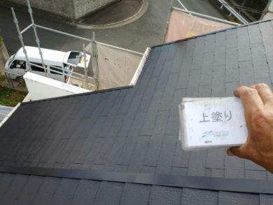 奈良生駒市M様邸 外壁塗装・屋根塗装・外塀塗装・防水工事 屋根塗装上塗り