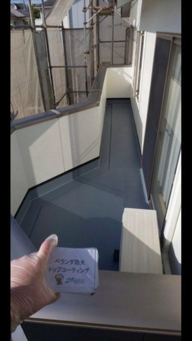 奈良香芝市H様邸 外壁塗装・屋根塗装・防水工事」 ベランダ防水トップコーティング