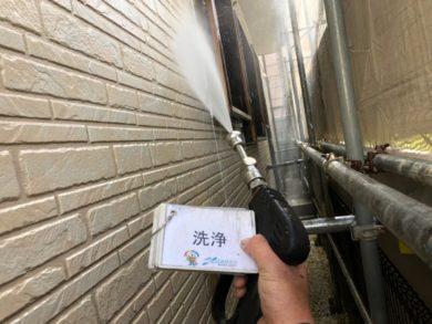 奈良香芝市N様 外壁塗装・屋根塗装・防水工事 外壁高圧洗浄