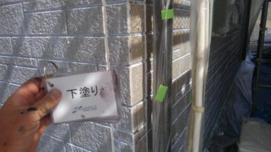 奈良・奈良市M様 外壁塗装・防水工事 外壁下塗り