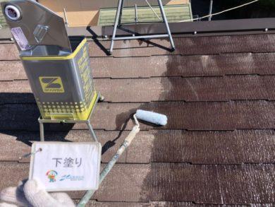 奈良奈良市U様邸 外壁塗装・屋根塗装・ベランダ防水工事 屋根塗装下塗り1回目