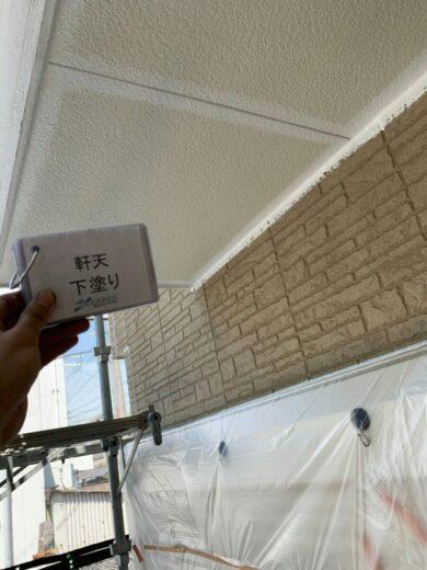 奈良香芝市K様 外壁塗装・屋根塗装・防水工事 軒天下塗り