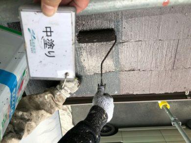 奈良大和高田市N様邸 外壁塗装・屋根塗装 屋根塗装中塗り