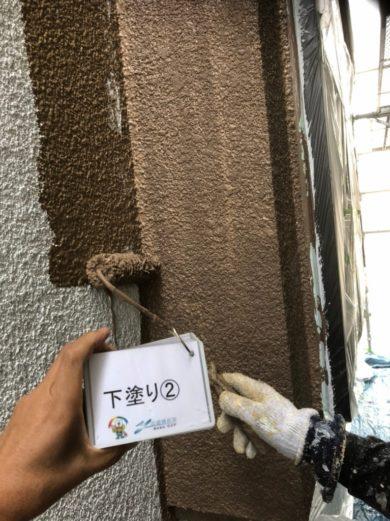 奈良香芝市U様 外壁塗装・屋根塗装工事 外壁塗装 下塗り2回目