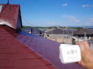 奈良香芝市Y様邸 外壁塗装・屋根塗装・外塀塗装 屋根塗装上塗り