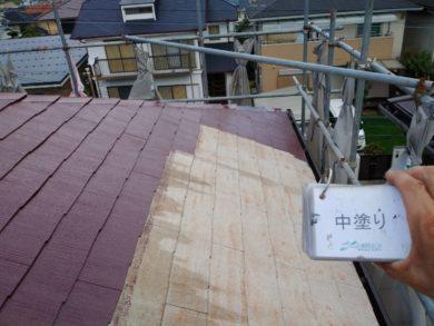 奈良香芝市Y様邸 外壁塗装・屋根塗装・外塀塗装 外壁塗装中塗り