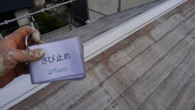 奈良香芝市M様 外壁塗装・屋根カバー工法 屋根 棟錆止め