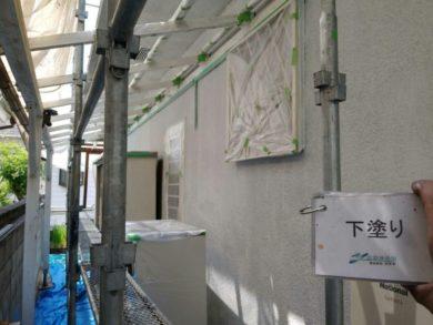 奈良・生駒郡三郷町M様 外壁塗装・屋根塗装 外壁塗装下塗り