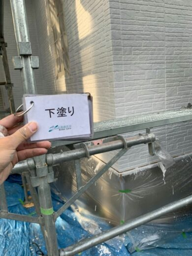 奈良香芝市K様 外壁塗装・屋根塗装・防水工事 外壁塗装下塗り