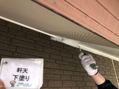 奈良北葛城郡上牧町H様 外壁塗装・屋根塗装・ベランダ防水工事 軒天下塗り