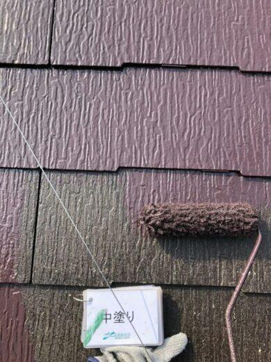 奈良香芝市T様邸 外壁塗装・屋根塗装・防水工事 外壁塗装中塗り