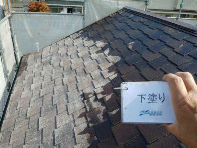 奈良・生駒郡三郷町M様 外壁塗装・屋根塗装 屋根塗装下塗り1回目