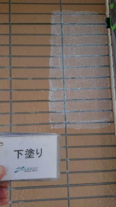 奈良葛城市M様邸 外壁塗装・屋根塗装・ベランダ防水工事 外壁塗装下塗り