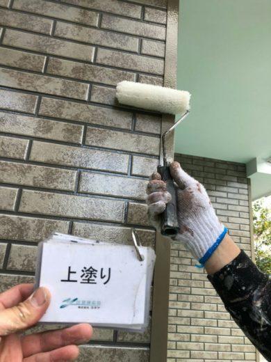 奈良大和高田市N様邸 外壁塗装・屋根塗装 1F外壁塗装上塗り