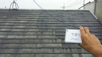 奈良大和高田市Y様 外壁塗装・屋根塗装・ベランダ防水工事 屋根下塗り