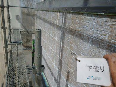 奈良香芝市S様邸 外壁塗装・屋根塗装 外壁塗装下塗り