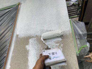 奈良大和高田市O様邸 外壁塗装・屋根塗装・防水工事 外壁塗装下塗り