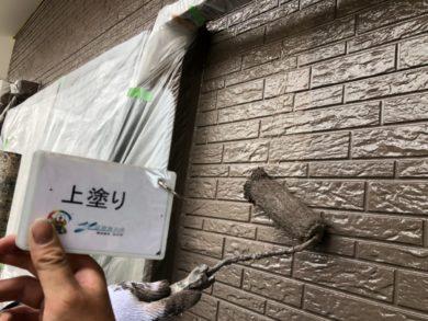 奈良北葛城郡上牧町H様 外壁塗装・屋根塗装・ベランダ防水工事 外壁塗装上塗り