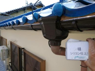大阪南河内郡太子町T様 外壁塗装工事 樋シリコン仕上げ