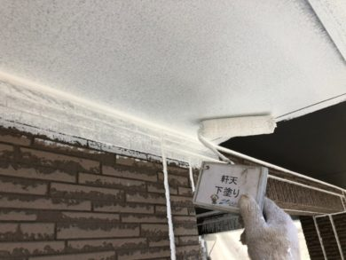 奈良奈良市U様邸 外壁塗装・屋根塗装・ベランダ防水工事 軒天下塗り