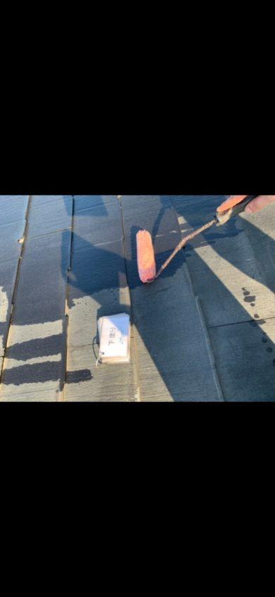 奈良香芝市I様邸 屋根塗装工事 屋根塗装下塗り1回目