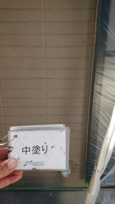 奈良生駒郡平群町M様邸 外壁塗装・屋根塗装・防水工事 外壁塗装中塗り