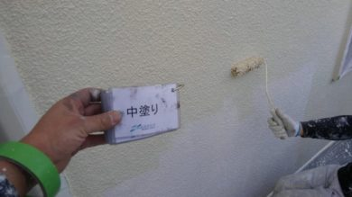 奈良香芝市M様 外壁塗装・屋根カバー工法 外壁塗装 中塗り
