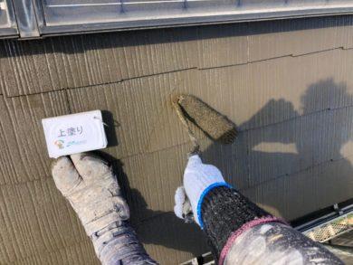奈良北葛城郡上牧町H様 外壁塗装・屋根塗装・ベランダ防水工事 屋根塗装上塗り