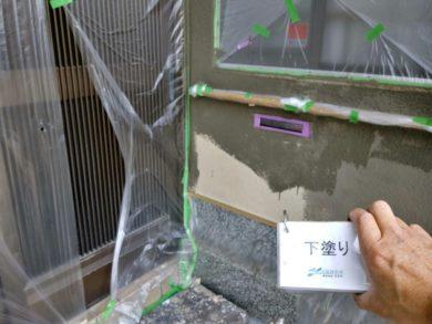 大阪南河内郡太子町T様 外壁塗装工事 外壁塗装下塗り1回目