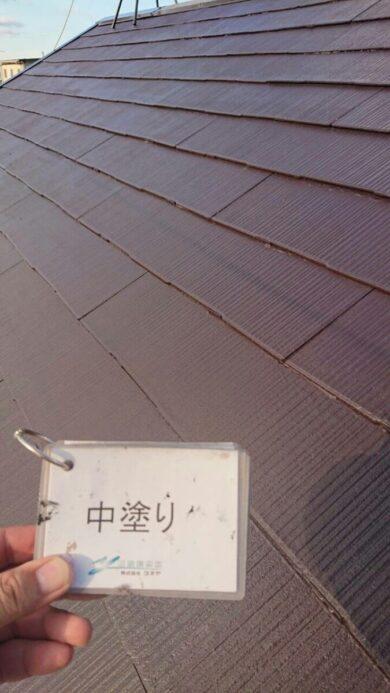 奈良生駒郡平群町M様邸 外壁塗装・屋根塗装・防水工事 屋根塗装中塗り