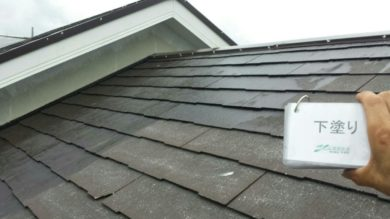 奈良奈良市I様邸 外壁塗装・屋根塗装・ベランダ防水工事 屋根塗装下塗り