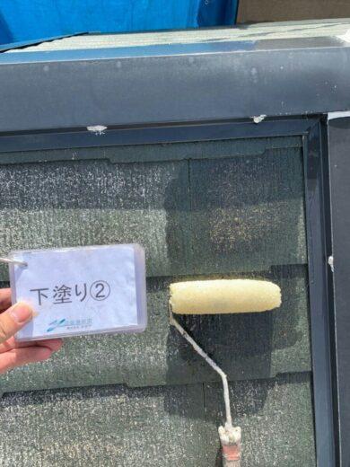 奈良香芝市K様邸 外壁塗装・屋根塗装・防水工事 屋根塗装下塗り2回目
