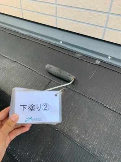 奈良葛城市M様邸 外壁塗装・屋根塗装・ベランダ防水工事 屋根塗装下塗り2回目