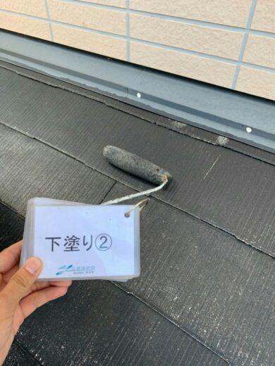 奈良生駒郡平群町M様邸 外壁塗装・屋根塗装・防水工事 屋根塗装下塗り2回目
