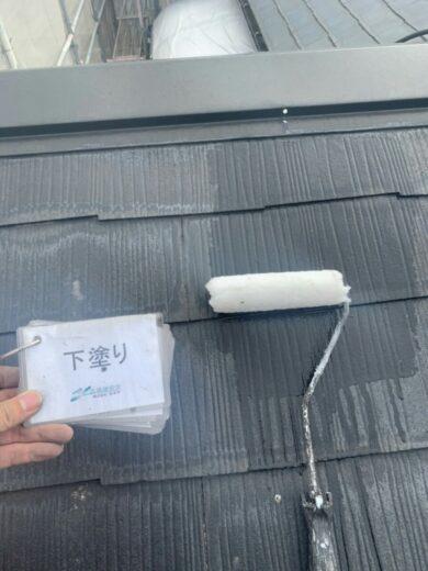 奈良香芝市K様邸 外壁塗装・屋根塗装工事 屋根下塗り