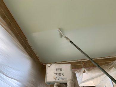 奈良大和郡山市N様邸 外壁塗装・ベランダ防水工事 軒天下塗り