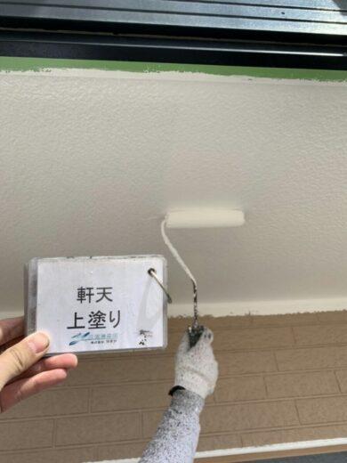 奈良香芝市K様邸 外壁塗装・屋根塗装工事 軒天上塗り
