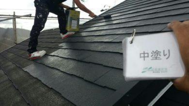 奈良大和高田市Y様 外壁塗装・屋根塗装・ベランダ防水工事 屋根中塗り