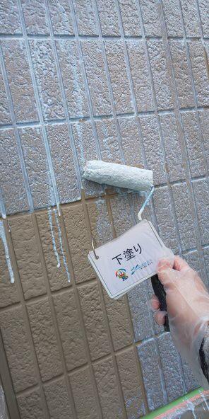 奈良香芝市A様 外壁塗装・屋根塗装工事 外壁下塗り