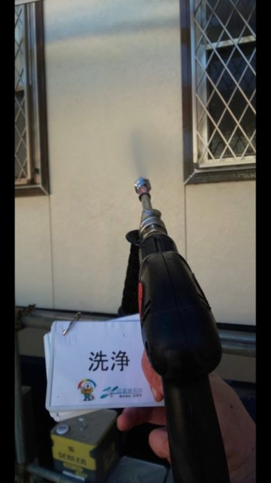 奈良香芝市H様邸 外壁塗装・屋根塗装・防水工事」 外壁高圧洗浄