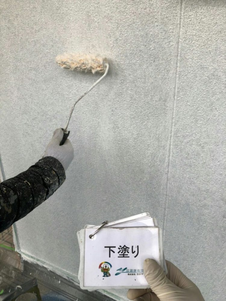 奈良の香芝市の株式会社ヨネヤの外壁塗装と屋根塗装の下塗り③
