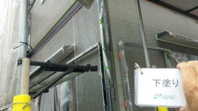 奈良大和高田市Y様 外壁塗装・屋根塗装・ベランダ防水工事 外壁塗装下塗り