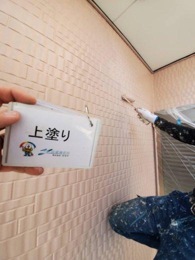 奈良生駒郡三郷町T様邸 外壁塗装・屋根塗装・ベランダ防水工事 外壁塗装上塗り
